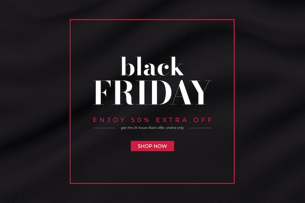 Black friday promo banner with wavy fabric background