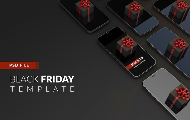 Black friday purchases online from your smartphone a mockup template