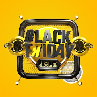 Black friday realistic composition on yellow background. 3d rendering