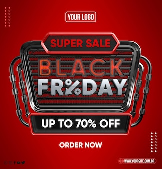 Black friday realistic concept on red isolated background
