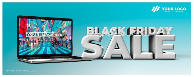 Black friday sale 3d design render mockup
