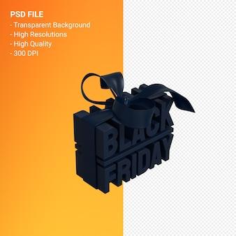 검은 금요일 판매 활과 리본 절연 판매 촉진을위한 3d 디자인 렌더링