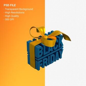 Черная пятница продажа 3d дизайн-рендеринг для продвижения продажи с бантом и лентой изолированы