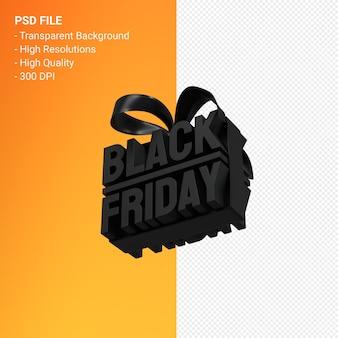 分離された弓とリボンで販売促進のためのブラックフライデーセール3dデザインレンダリング