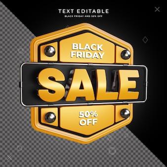 Черная пятница распродажа 3d дизайн квадратный psd шаблон