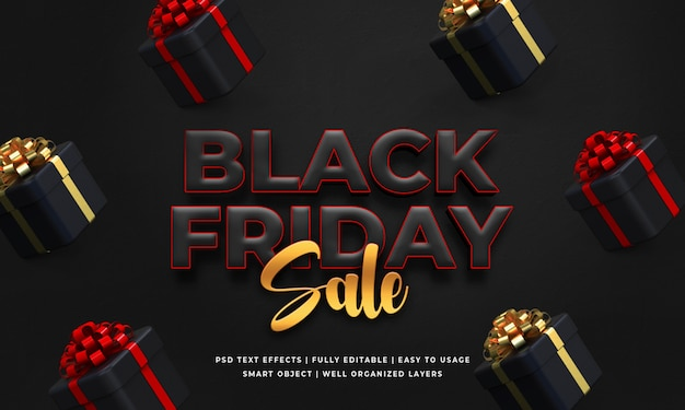 Black friday sale 3d text style effect template