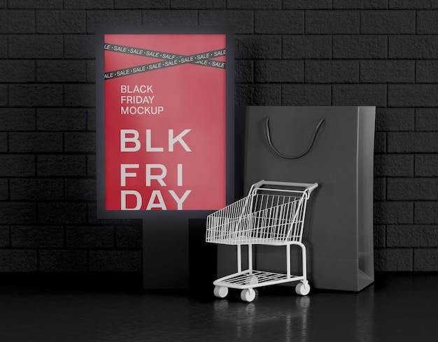 Black friday sale banner advertising mockup.