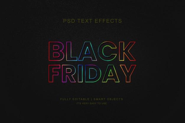 검은 금요일 판매 배너 및 포토샵 네온 텍스트 효과 프리미엄 PSD 파일