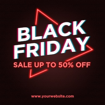 Black friday sale banner in neon and glitch style