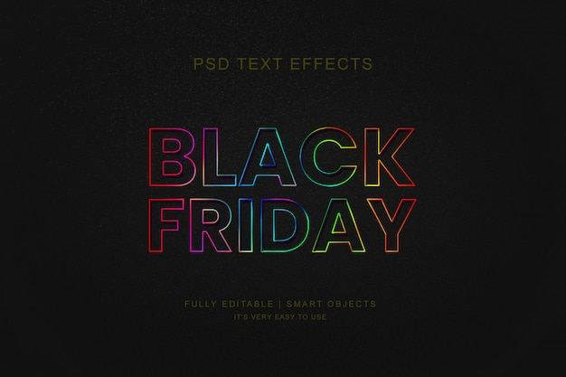 Black friday sale banner and photoshop neon text effect