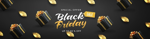 Black friday sale banner template with 3d black gifts boxes and gold leaf