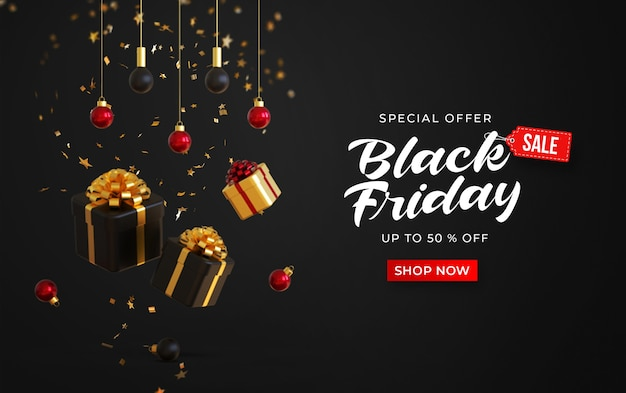 Black friday sale banner template with 3d gifts boxes, hanging lamps and confetti