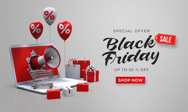 Black friday sale banner template with 3d megaphone out of the laptop
