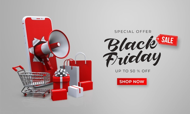 Black friday sale banner template with 3d megaphone out of the smartphone