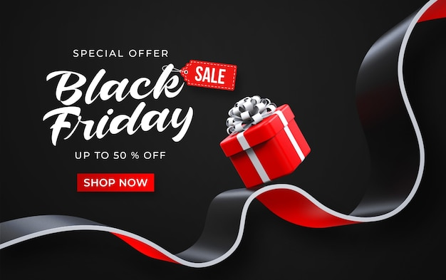 Black friday sale banner template with 3d red gift box