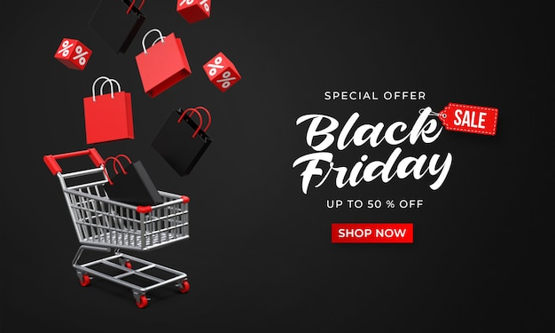 Black friday sale banner template with 3d shop bags and cubes floated down to the shopping cart