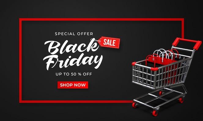 장바구니에 3d 쇼핑 가방과 함께 검은 금요일 판매 배너 서식 파일