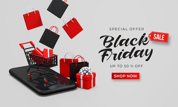 Black friday sale banner template with 3d shopping cart on the smartphone