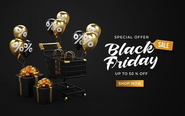 Шаблон рекламного баннера черной пятницы с 3d тележкой, сумками, подарочными коробками и воздушными шарами
