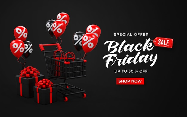 Black friday sale banner template with 3d trolley, shop bags, gifts boxes and balloons