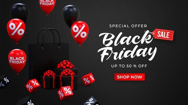 Шаблон рекламного баннера черной пятницы с черными и красными блестящими воздушными шарами, сумкой для магазина и подарочными коробками
