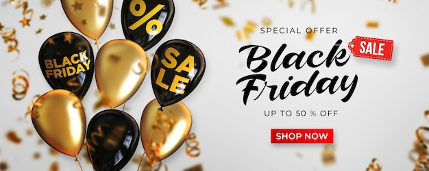 Black friday sale banner template with black and gold shiny balloons