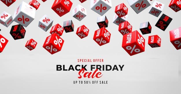 Шаблон рекламного баннера черной пятницы с падающими красными, черными и белыми кубиками с процентами