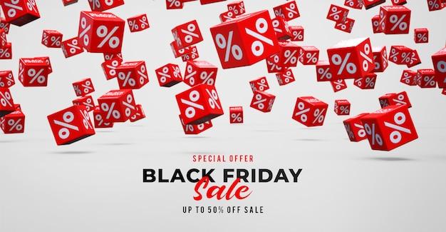 % 떨어지는 빨간색 큐브와 검은 금요일 판매 배너 서식 파일