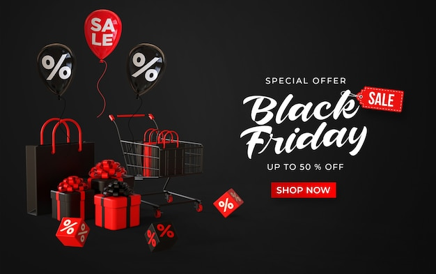 Black friday sale banner with 3d trolley, shop bags, gifts boxes, cubes with percent and balloons