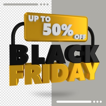 Black friday sale banner with discount details 3d rendering