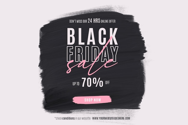 Black friday sale banner with paint shape
