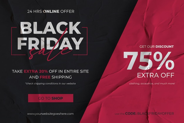 Black friday sale banner with red and black glued paper background