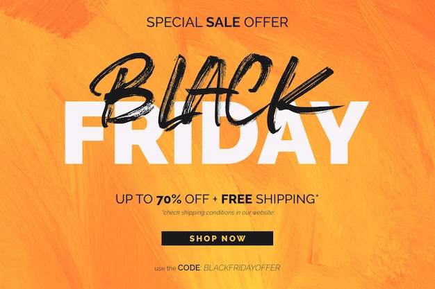 Black friday sale banner in yellow acrylic painted background