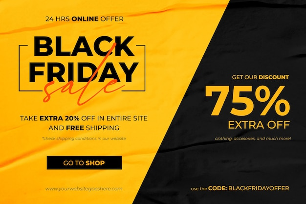Black friday sale banner in yellow and black glued paper background