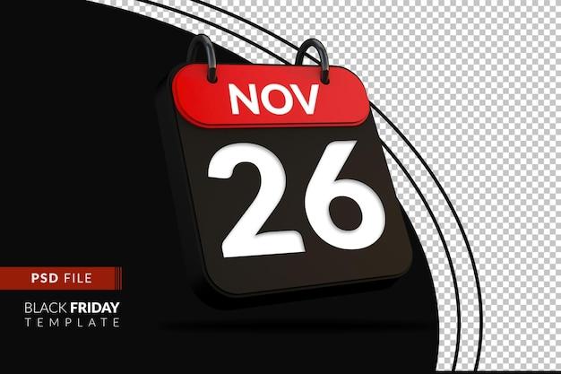 Черная пятница распродажа событие торговый день скидка флэш-распродажа фестиваль 3d календарь