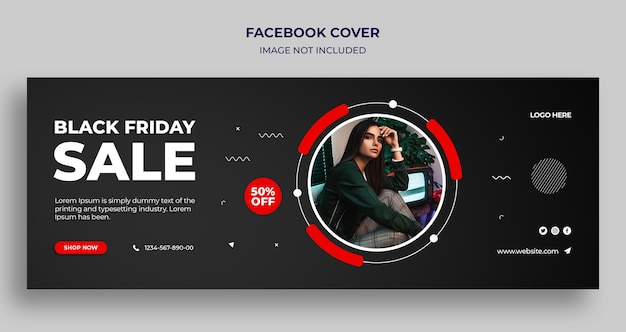ブラックフライデーセールfacebookタイムラインカバーとwebバナーテンプレート
