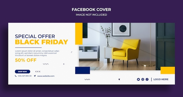 Black friday sale facebook timeline cover and web banner template