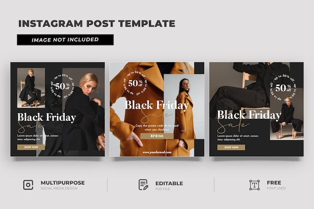 Black friday sale fashion social media template