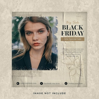 Black friday sale instagram social media post banner template