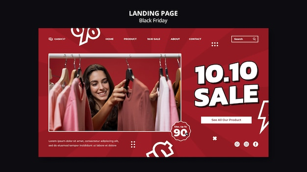 Black friday sale landing page template