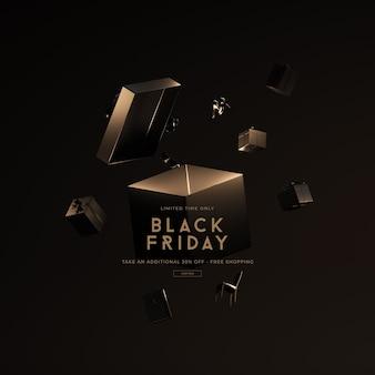 3d 렌더링에서 검은 금요일 판매 모형