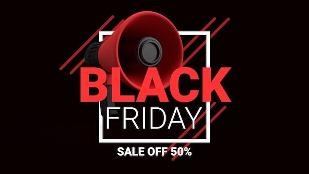 Black friday sale off with 3d megaphone banner concept