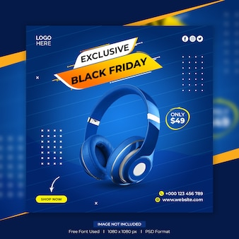 Черная пятница распродажа шаблон сообщения в социальных сетях Premium Psd
