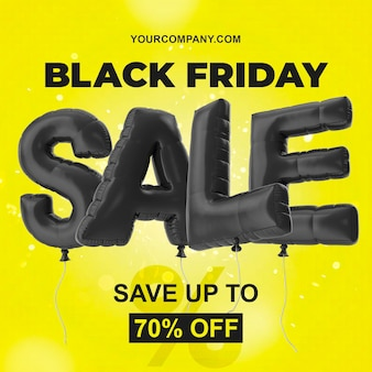 Black friday sale yellow template with black balloons