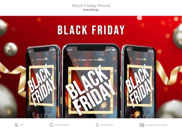 검은 금요일 판매를위한 빨간색 배경에 검은 금요일 samrt 전화 목업