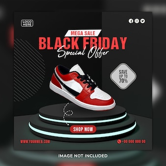 검은 금요일 신발 소셜 미디어 게시물 및 3d 배경이 있는 웹 배너 템플릿