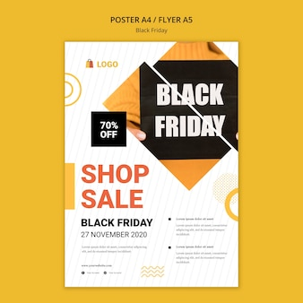 Black friday shop sale poster template