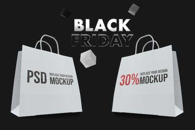 Черная пятница макет сумки для покупок