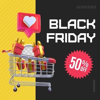 Black friday shopping cart. 3d rendering
