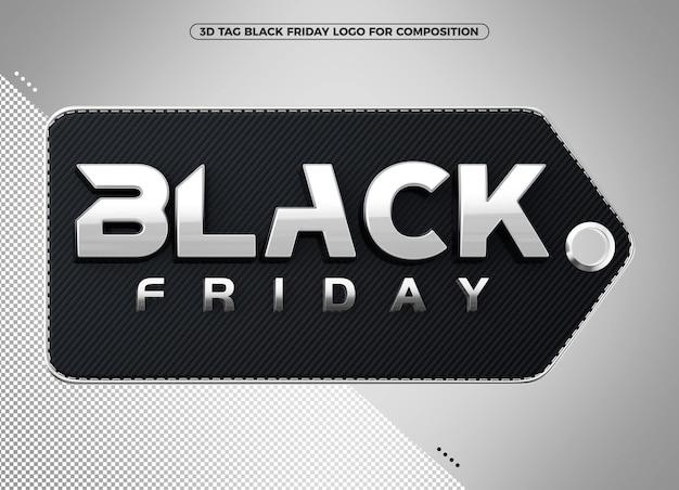 メイクアップのためのブラックフライデーシルバー3dタグのロゴ